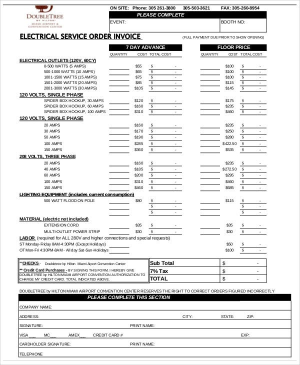 Electrical Invoice Templates 5 Free Word Pdf Format Download