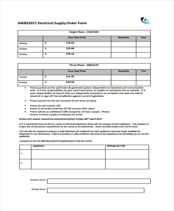 10 Supply Order Templates - Free Sample, Example, Format Download