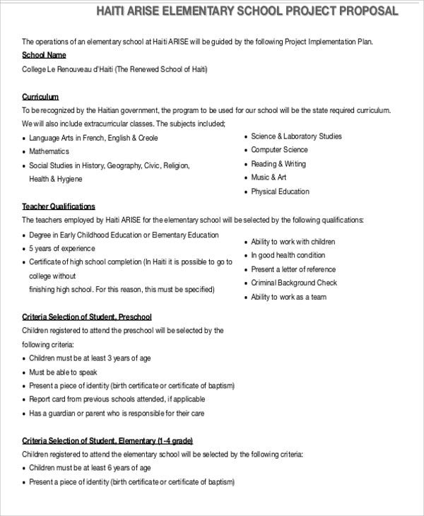 School Project Proposal Templates 10 Free Word Pdf Format