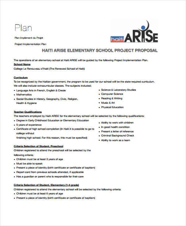 16 School Project Proposal Templates Free Word Pdf Format