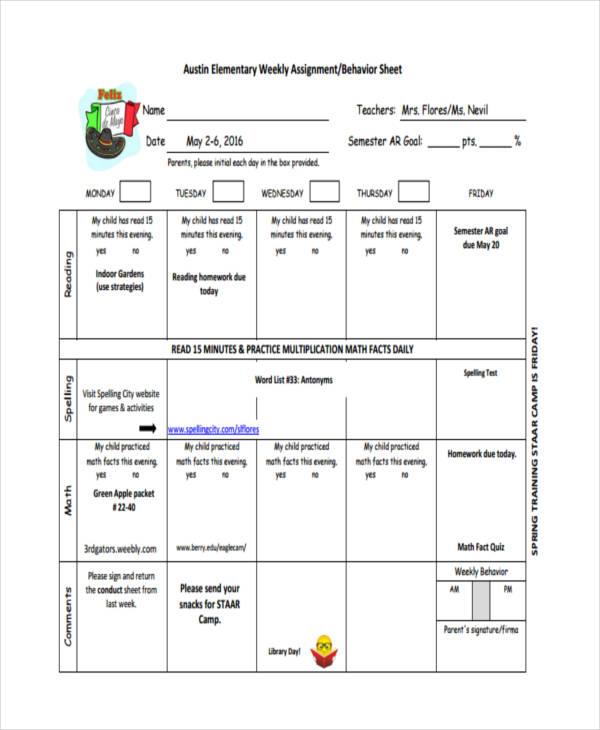 elementary sheet