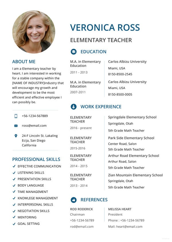 elementary-teacher-resume-template