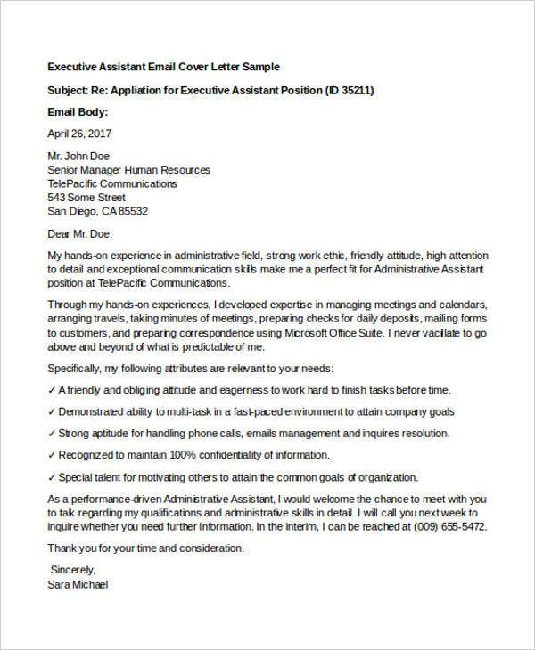 Email Cover Letter For Administrative Assistant Executive Letters 9 Free Word Pdf Format