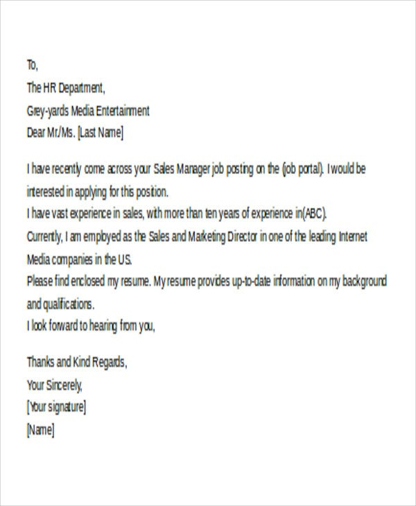 11 Email Cover Letter Templates Sample Example Free