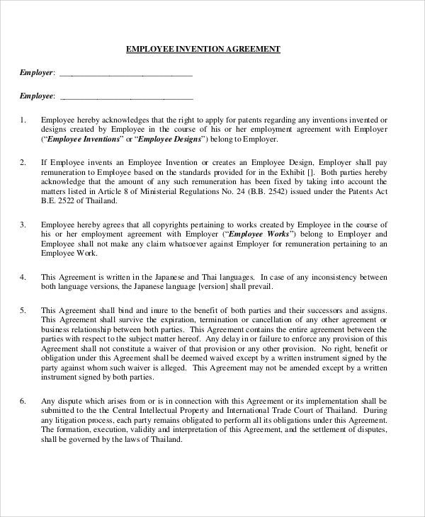 7 Invention Agreement Templates Free Sample Example Format
