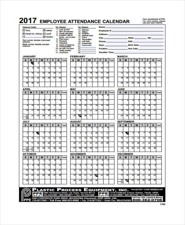 7+ Attendance Calendar Templates - Free Word, Pdf Format Download