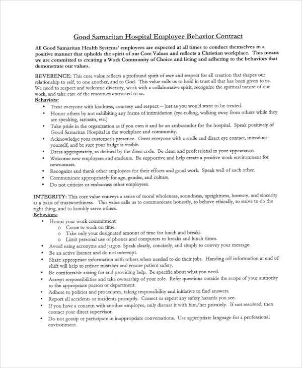 Behavior Contract Templates  Free Word Pdf Format Download