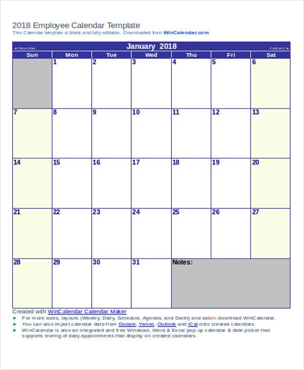 employee calendar2