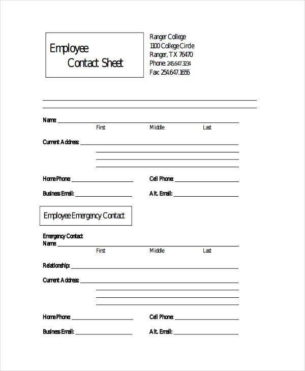 employee contact sheet1
