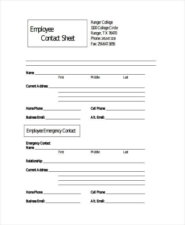 employee sheet templates