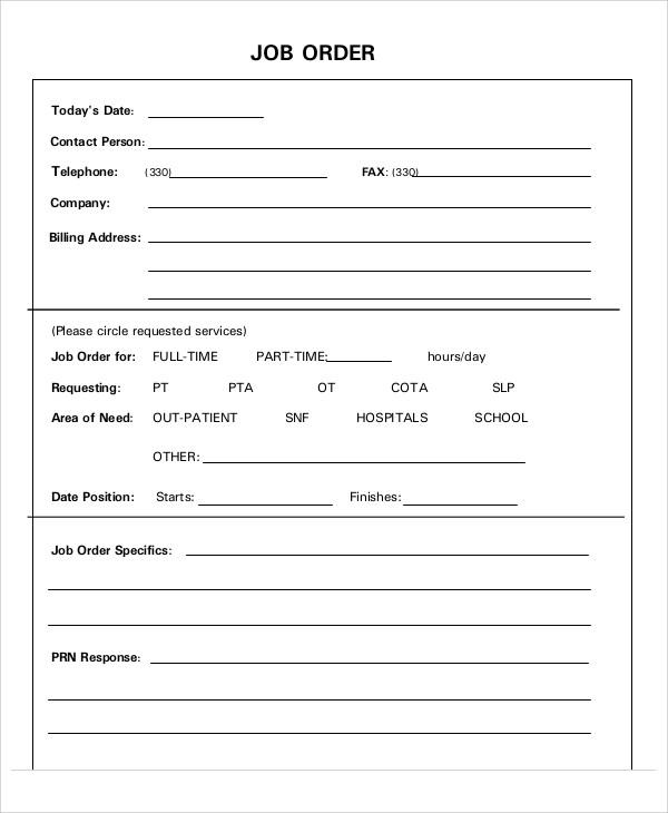 Job Order Form Template Excel