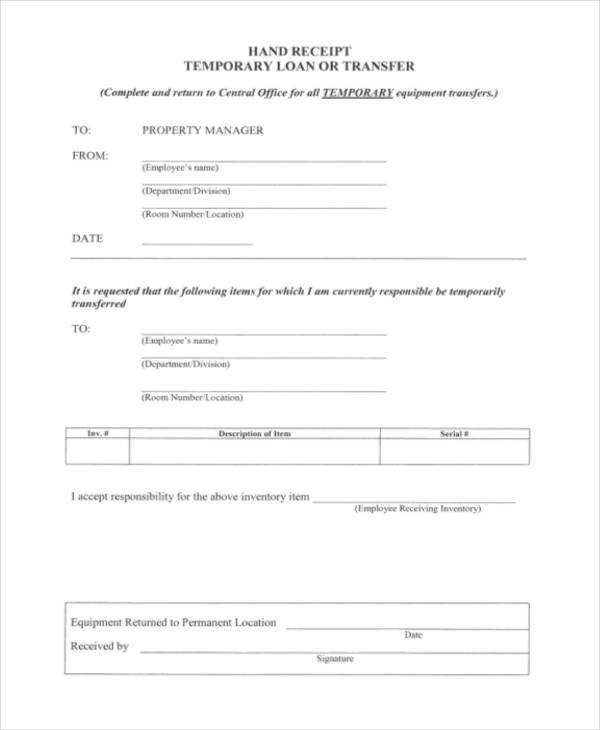 17  loan receipt templates