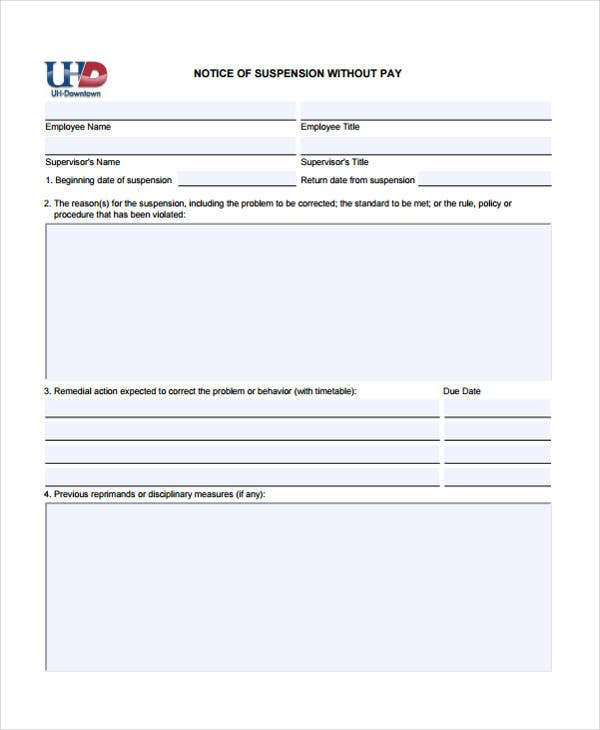 7 Notice Of Suspension Templates Free Sample Example