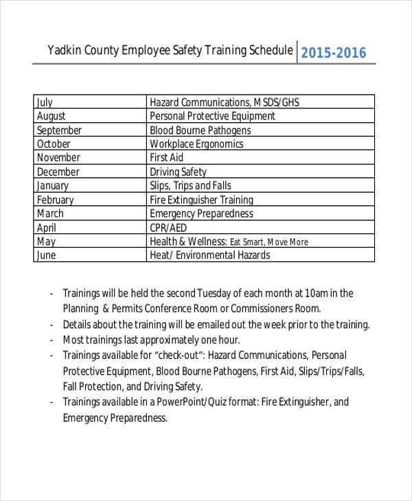 13 employee training schedule template free sample for Safety training calendar template
