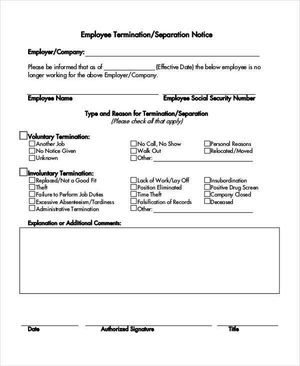 employee termination separation notice template1