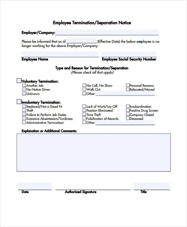 employee termination separation