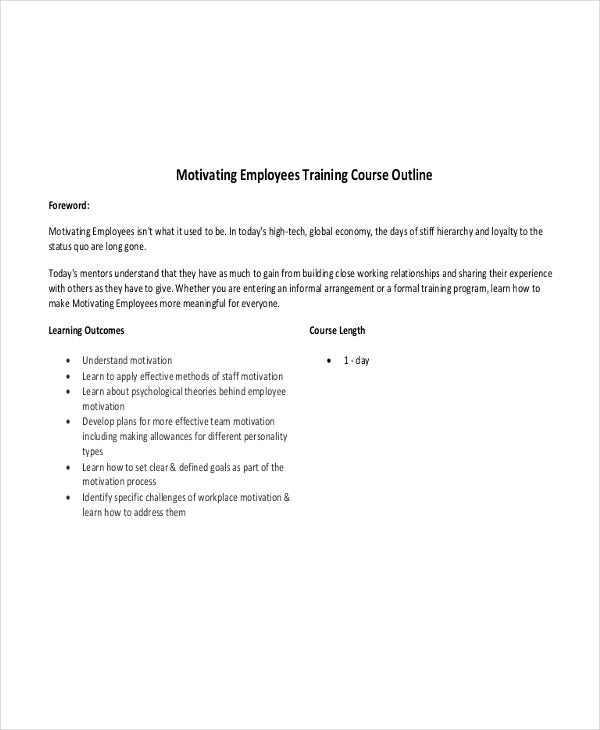 employee training outline