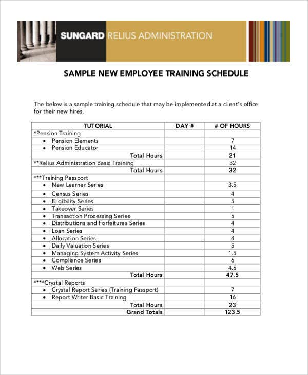 13+ Employee Training Schedule Template - Free Sample, Example ...