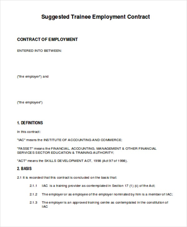 Amazing Trainee Employment Contract Regard To Employee Training Contract Sample