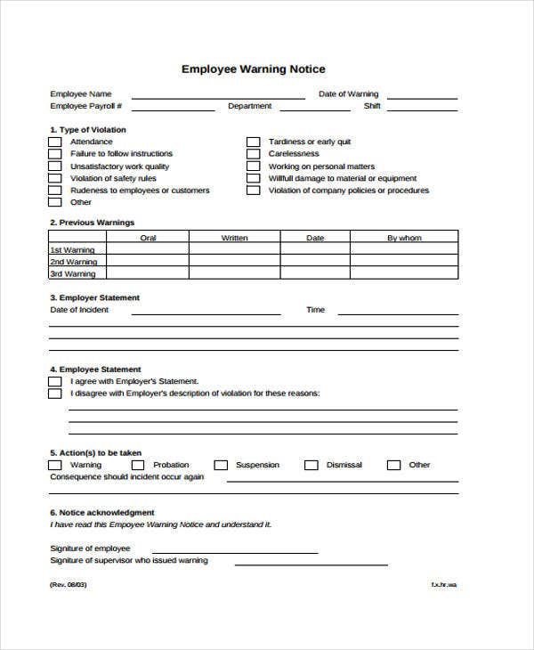 Employee Warning Notice Written Warning Template