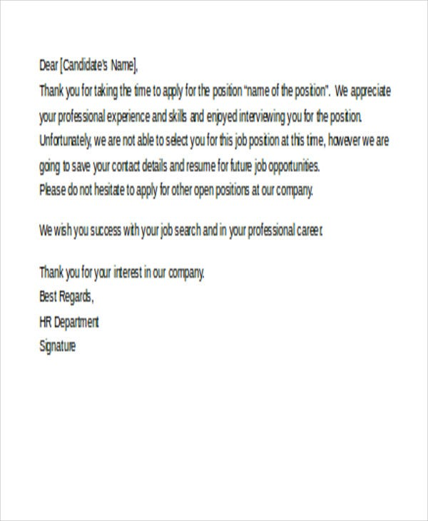 Employer-Job-Rejection1 Open Letter Templates on sample resignation, sample request, sample business, basic cover,