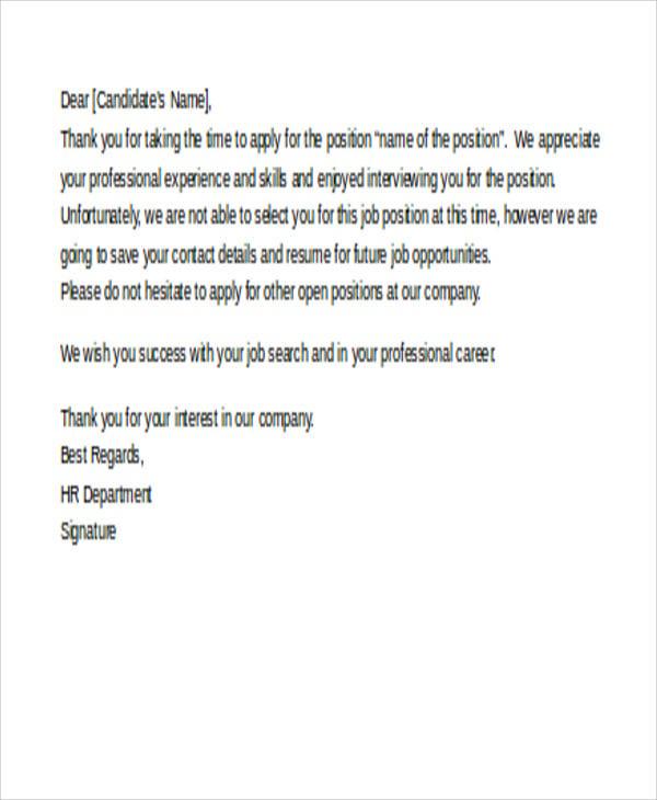 Job Rejection Letters 10 Free Word Pdf Format Download Job Rejection