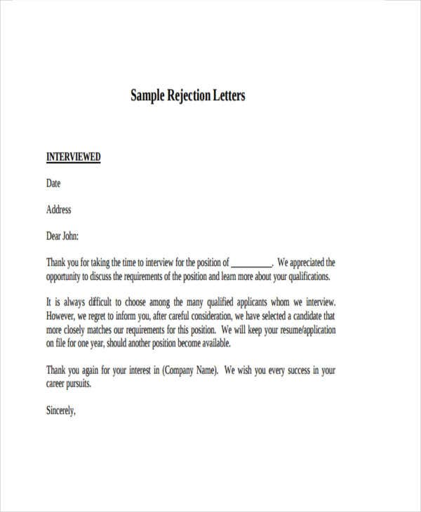employer rejection letter