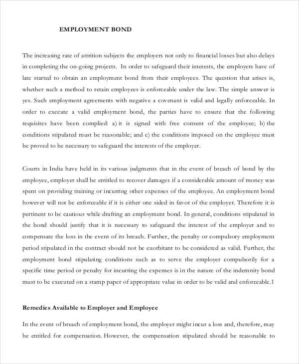 employment bond