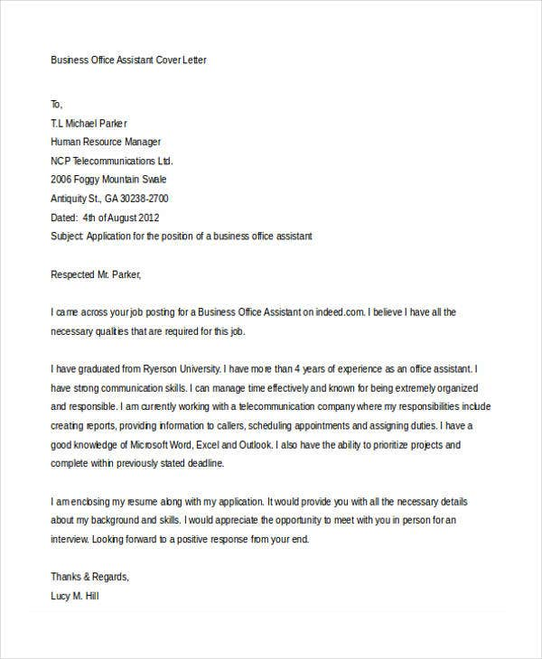 business office assistant employment cover letter2