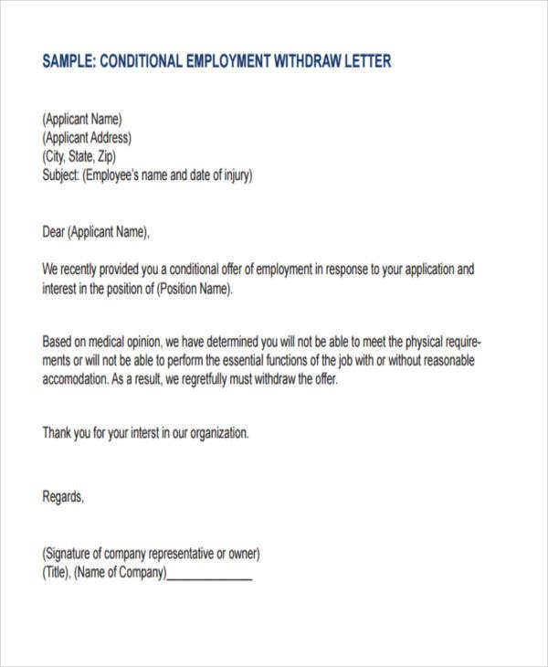 conditional employment withdraw letter