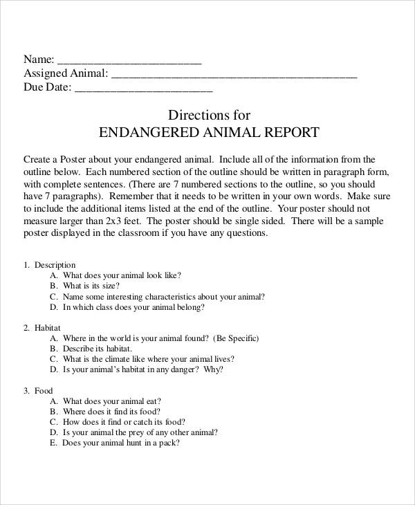 Animal Report Templates  Word Pdf  Free  Premium Templates