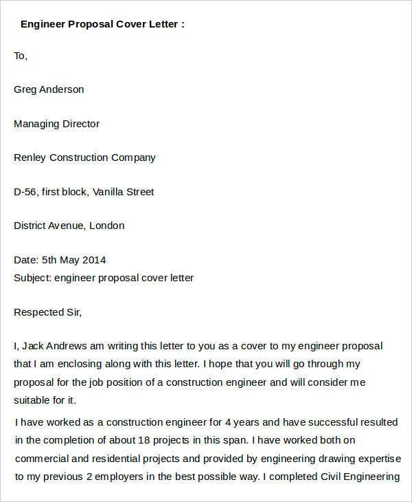 Engineer Proposal Cover Letter