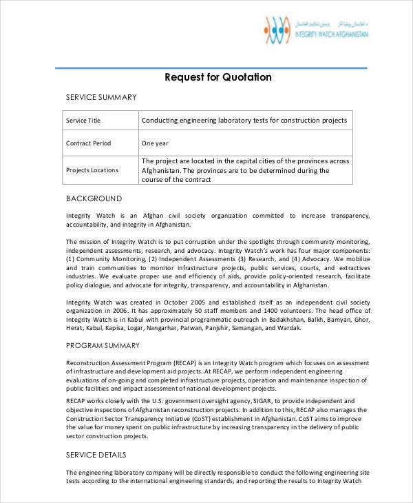 Engineering Quotation Templates - 8+ Free Word, Pdf Format