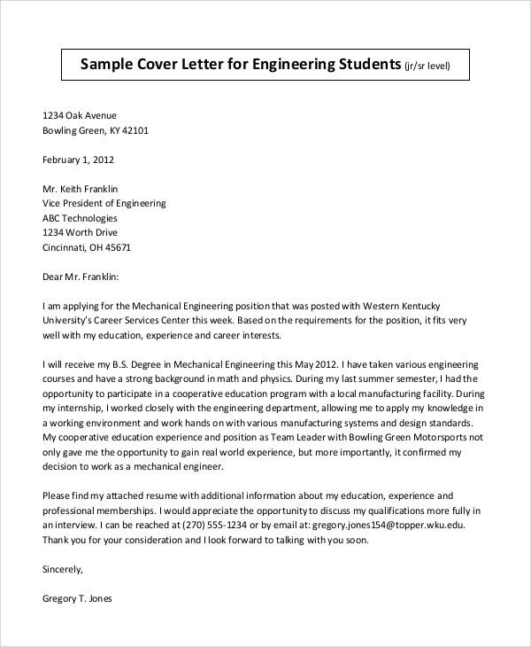 Cover Letter Sample For Engineering Student  Student Cover Letter Sample