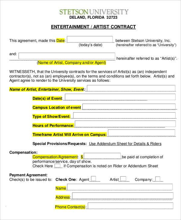 Entertainment Artist Contract