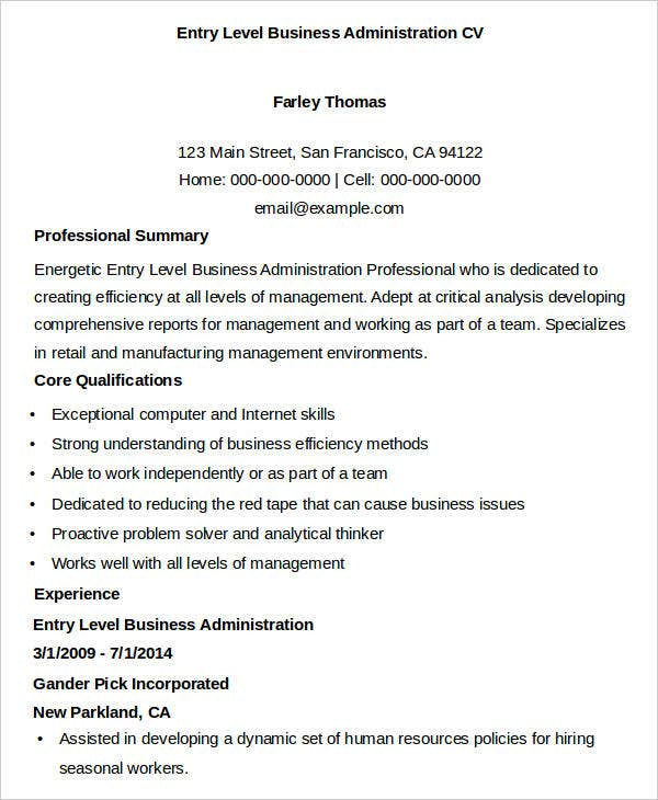 business curriculum vitae template