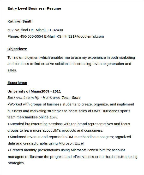 entry level business resume