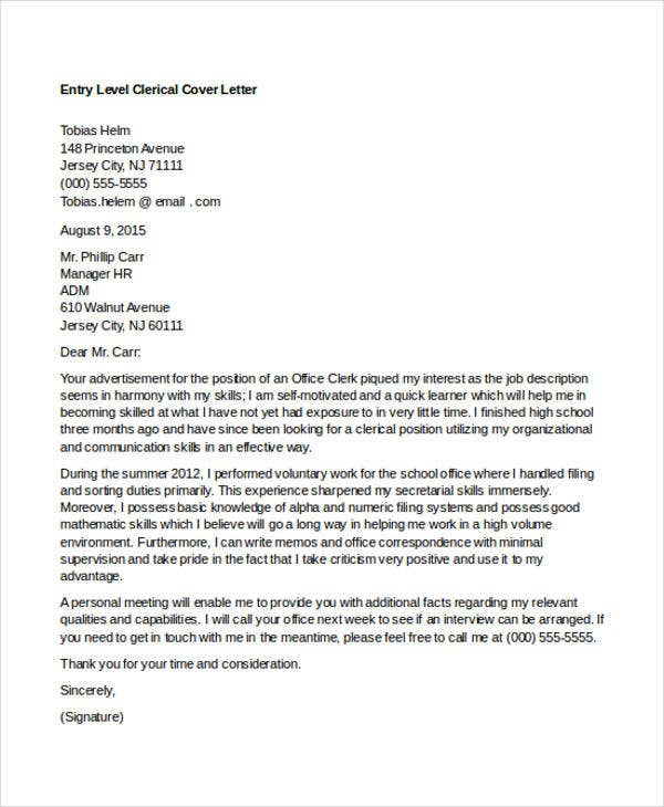 entry level clerical - Cover Letter Clerical