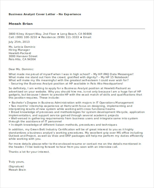 8 business cover letter examples free premium templates