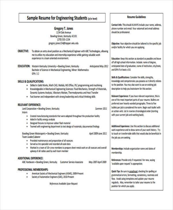 10  printable engineer curriculum vitae templates