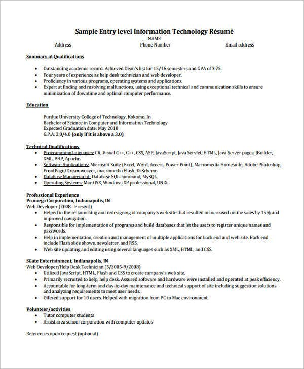 entry level it - Sample Entry Level Help Desk Resume