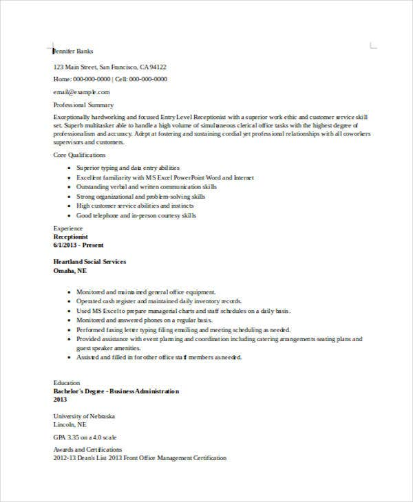 Nice Entry Level Receptionist  Entry Level Receptionist Resume