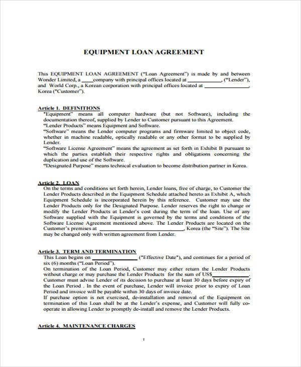 equipment agreement