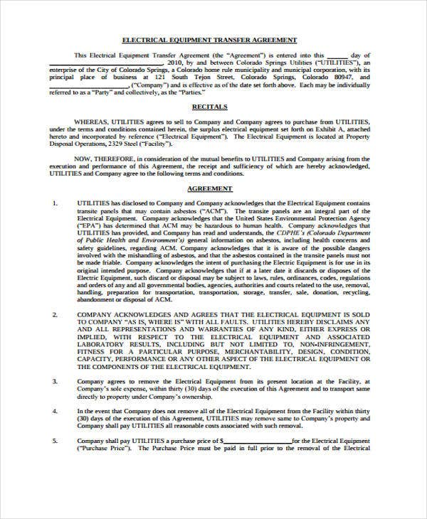9 Transfer Agreement Templates Free Word Pdf Format Download