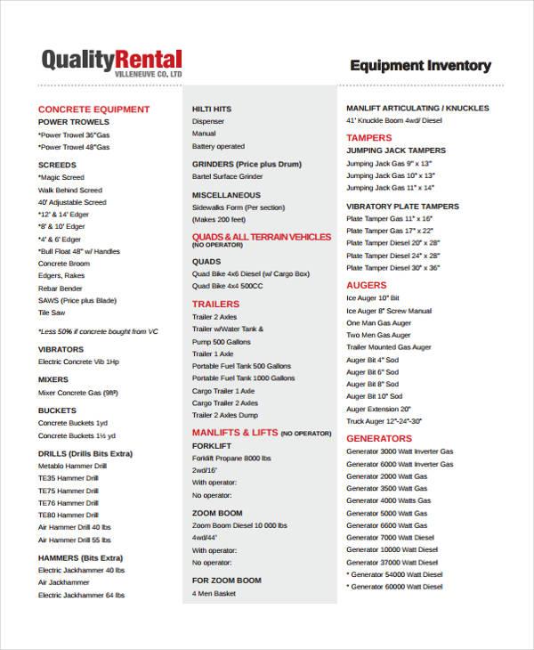 equipment inventory2