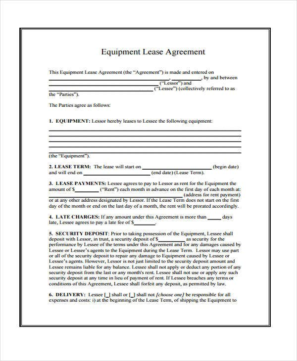 equipment lease