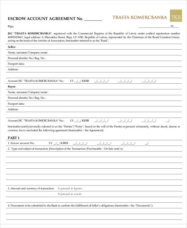 10 escrow agreement templates free sample example format download escrow account platinumwayz