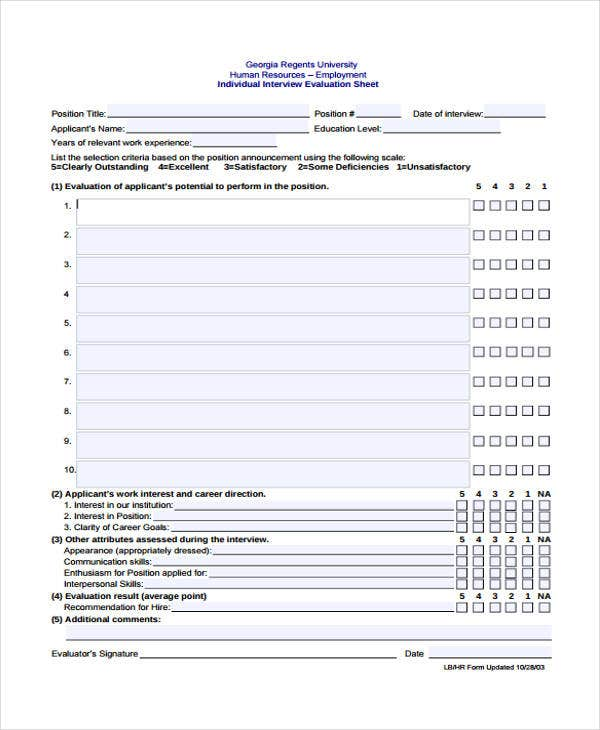 Interview Sheet Templates  Free Sample Example Format