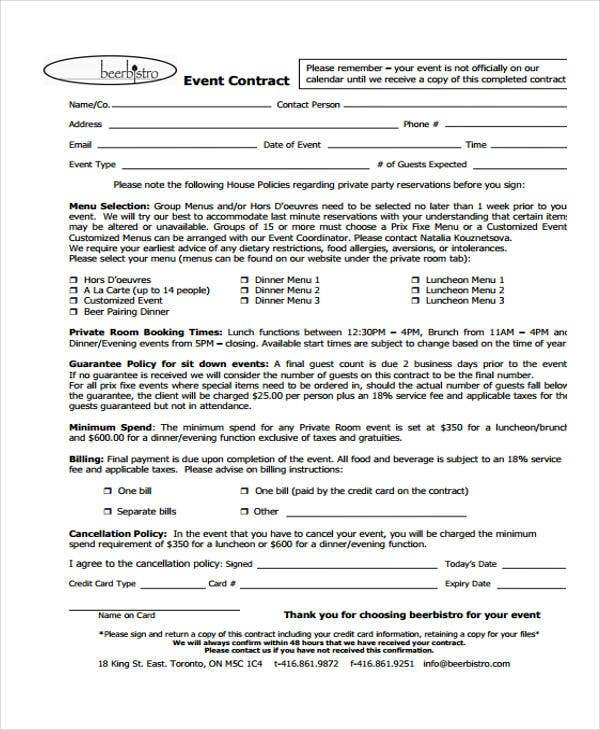 Event Contract Templates  Free Sample Example Format