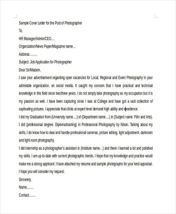 Photographer Cover Letter Templates  Free Sample Example Format